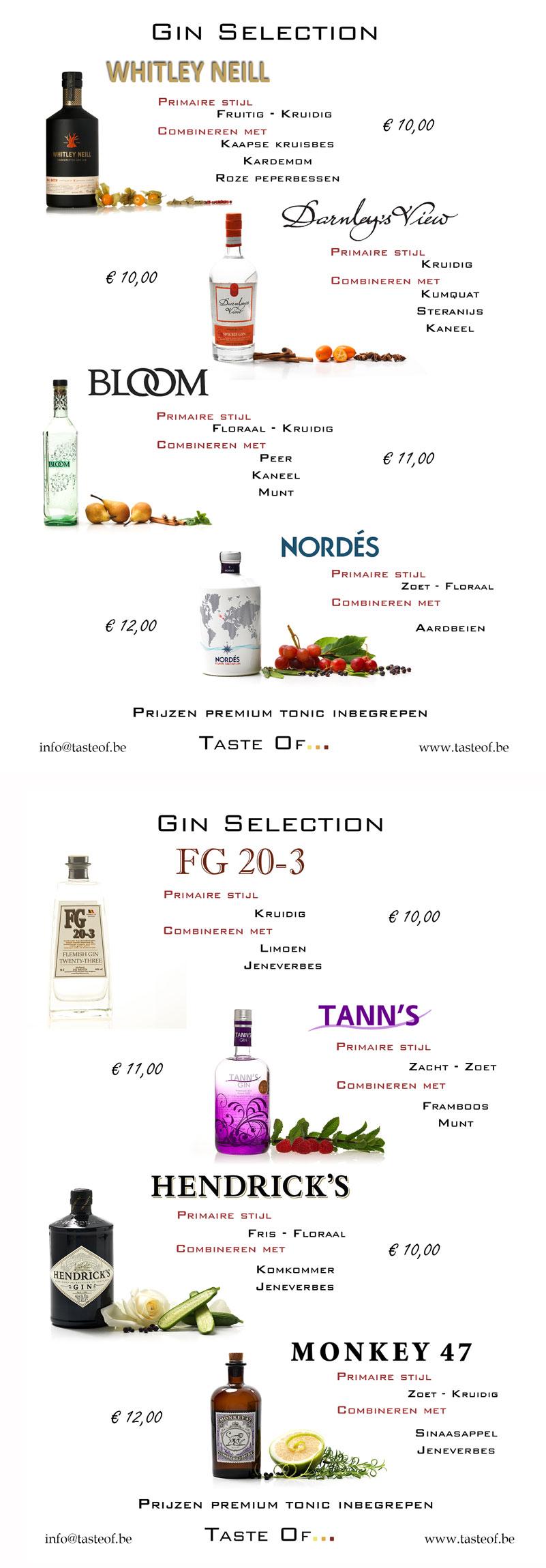 gin kaart